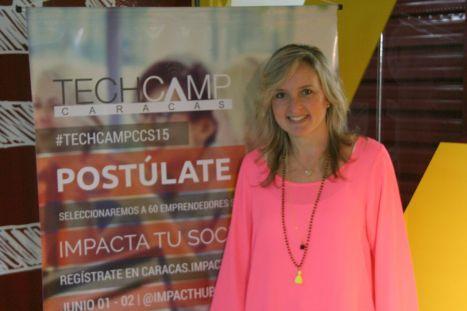 Vanessa Marcano, fundadora de Pollito Inglés, en el TechCamp Caracas